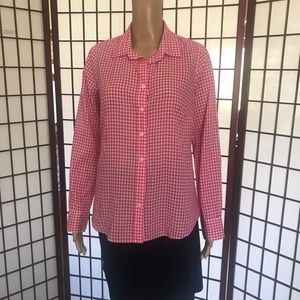 J. Crew EUC  Pink and White button down blouse